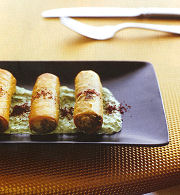 Ladies fingers with minted yoghurt sauce